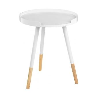 Fusion Living White Circular Tray Table With Beech Tipped Legs