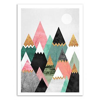 Konst affisch-vackra berg-Elisabeth Fredriksson 50 x 70 cm