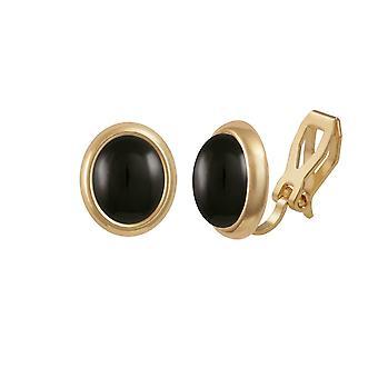 耳飾りの永遠のコレクション メヌエット ブラックオニキス ゴールド トーン スタッド クリップ