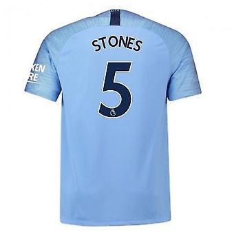 2018-2019 Man City Home Nike Fotballdrakt (Stones 5)