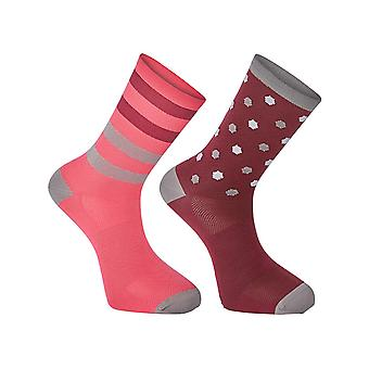 Madison Hex Dots Classy Burgundy-Berry 2018 Sportive Long Pack of 2 Cycling Sock