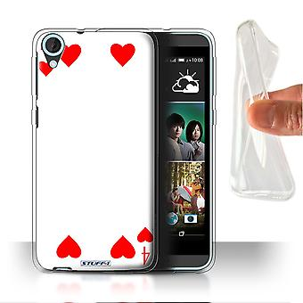STUFF4 Gel/TPU Case/Cover for HTC Desire 820q Dual/4 of Hearts/Playing Cards
