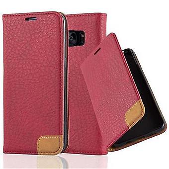 Cadorabo tilfældet for Samsung Galaxy S7 EDGE Case Cover-telefon tilfældet med stativ funktion, kort bakke og tekstil patch-sag Cover sag case sag bog folde stil