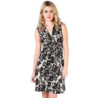 KRISP Womens Flower Print Knot Front Dress