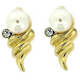Clip On Earrings Store Gold Plated Pearl & Crystal Deco Tree Clip On Earrings