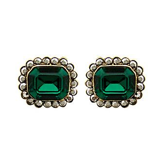 Butler & Wilson Small Mirror Stone & Crystals Stud Earrings Green