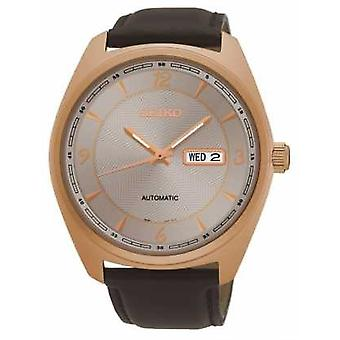 Seiko Mens Automatic Brown Leather Rose Dial SNKN72P9 Watch