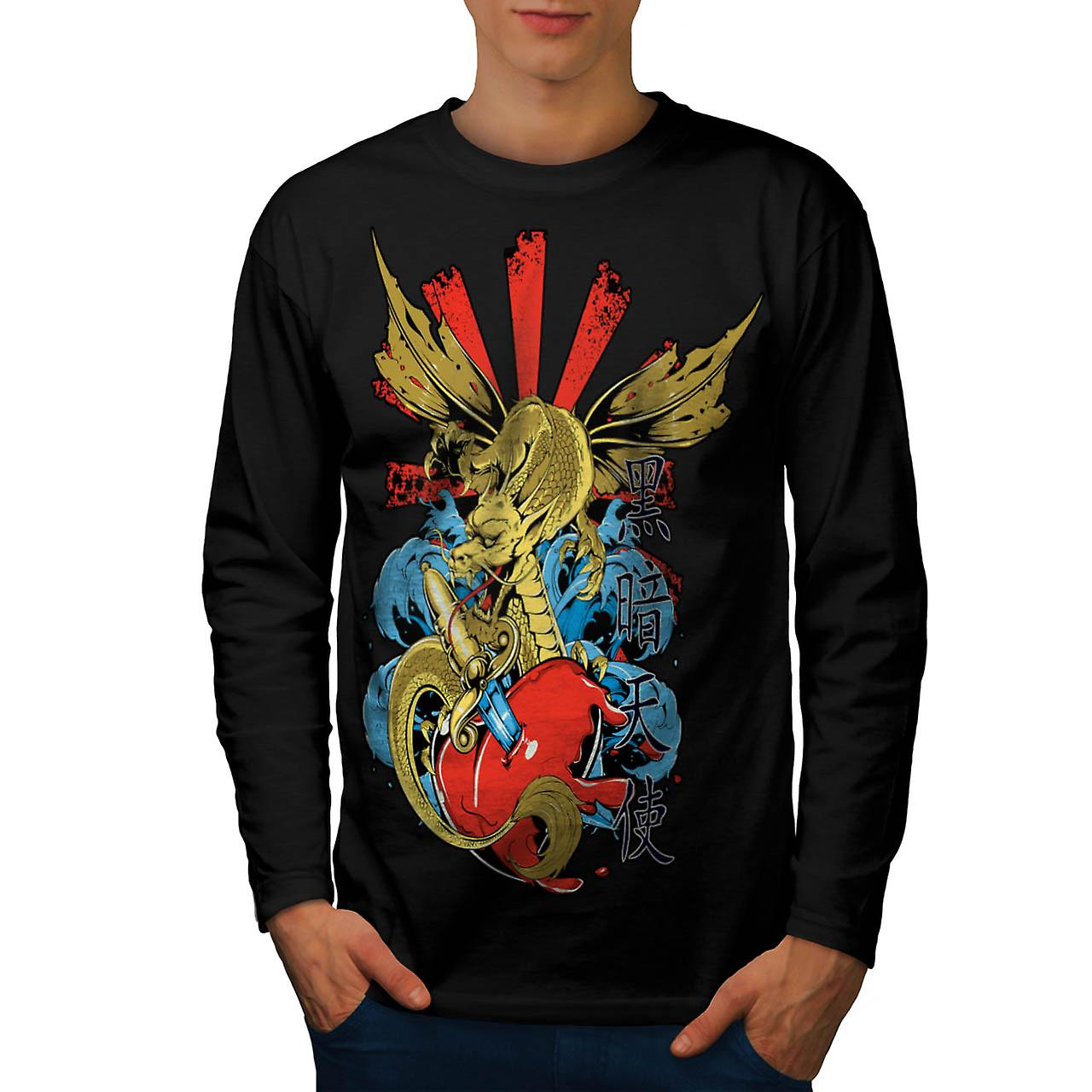 Japanese Skull Fantasy Love Hurts Men Black Long Sleeve T-shirt | Wellcoda