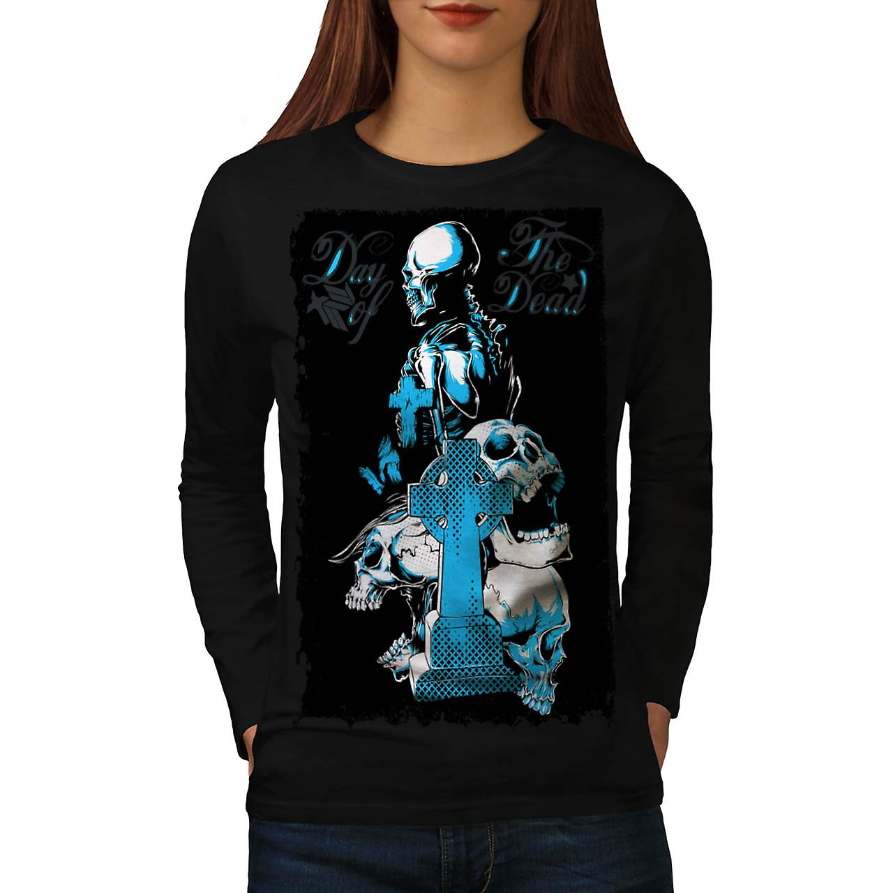 Day Of The Dead Skull Women Black Long Sleeve T-shirt | Wellcoda