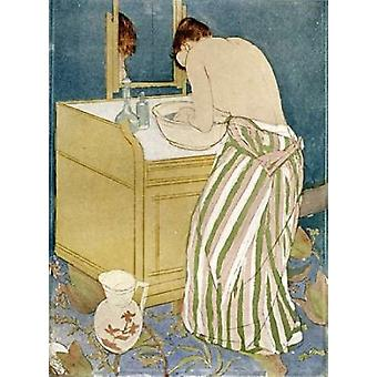 Frau Baden Poster Print von Mary Cassatt