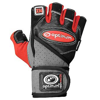 Optimum Techpro X14 Weightlifting Gloves Black/Red