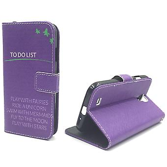 Mobile phone case pouch for mobile Samsung Galaxy S4 TO DO LIST purple