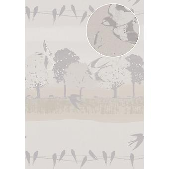 Bird wallpaper Atlas SIG-385-4 non-woven wallpaper smooth with landscapes and metallic accents white perl grey white silver-grey 7,035 m2