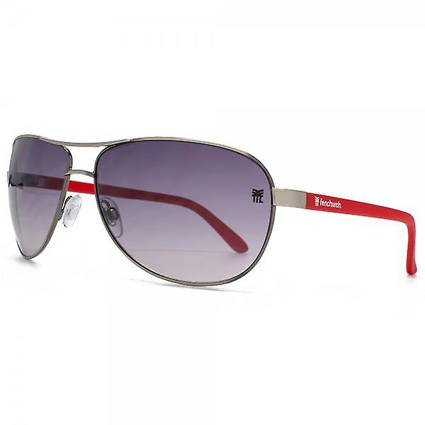 Fenchurch Aviator Sunglasses In Light Gunmetal & Matte Red Temples