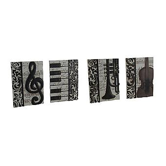 4 Piece Set of Elegant Music Inspired Decorative Wall Plaques