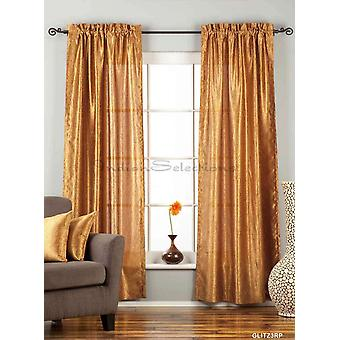 Gingery Gold Rod Pocket Textured Curtain / Drape / Panel - 84