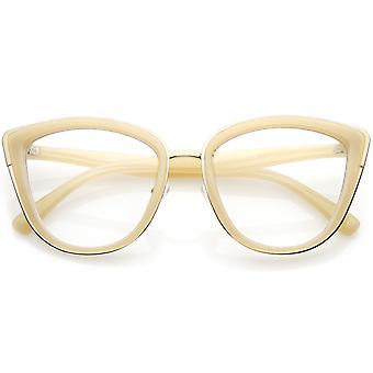 Oversize kantede Metal kat briller Fjern linsen 55mm