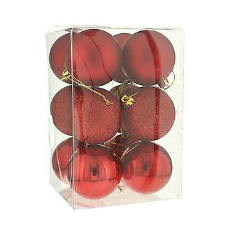 12 Red Shatterproof Baubles - Christmas Decorations - 6cm