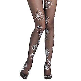 Halloween Spider Web Black & Silver Witch Tights Fancy Dress Accessory -One Size