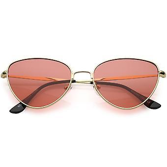 Womens Cat Eye Sunglasses Slim Metal Arms Color Tinted Flat Lens 53mm