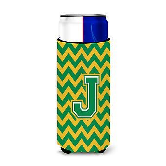 Letter J Chevron Green and Gold Ultra Beverage Insulators for slim cans