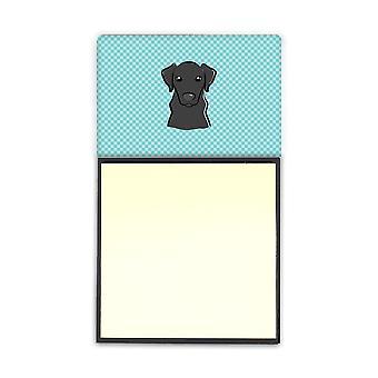Checkerboard Blue Black Labrador Refiillable Sticky Note Holder or Postit Note D