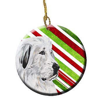 Great Pyrenees Candy Cane Christmas Ceramic Ornament