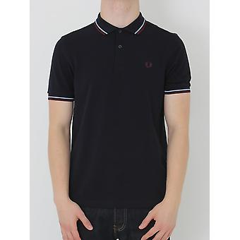 Fred Perry doppia punta classica Polo - Navy/Bramble