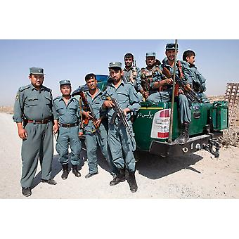 Group photo of Afghan National Police officers on duty in Kunduz Afghanistan Poster Print by VWPicsStocktrek Images