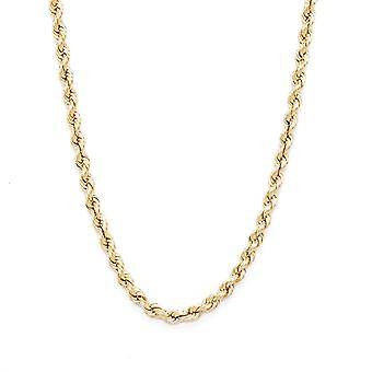 Floreo 10k Yellow Gold Hollow Rope Chain Necklace with Lobster Claw Clasp, 6mm