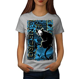 Gato Negro skumle katten kvinner GreyT-skjorte   Wellcoda