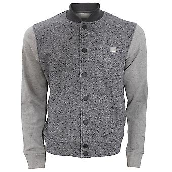 Bench Mens Deviate Button Down Casual Varsity Sweater Jacket With Contrast Sleeves