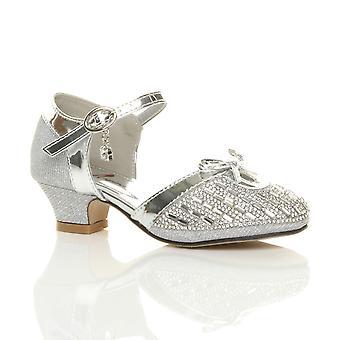Ajvani ragazze tacco basso diamante fibbia cinturino Corte scarpe sandali con fiocco