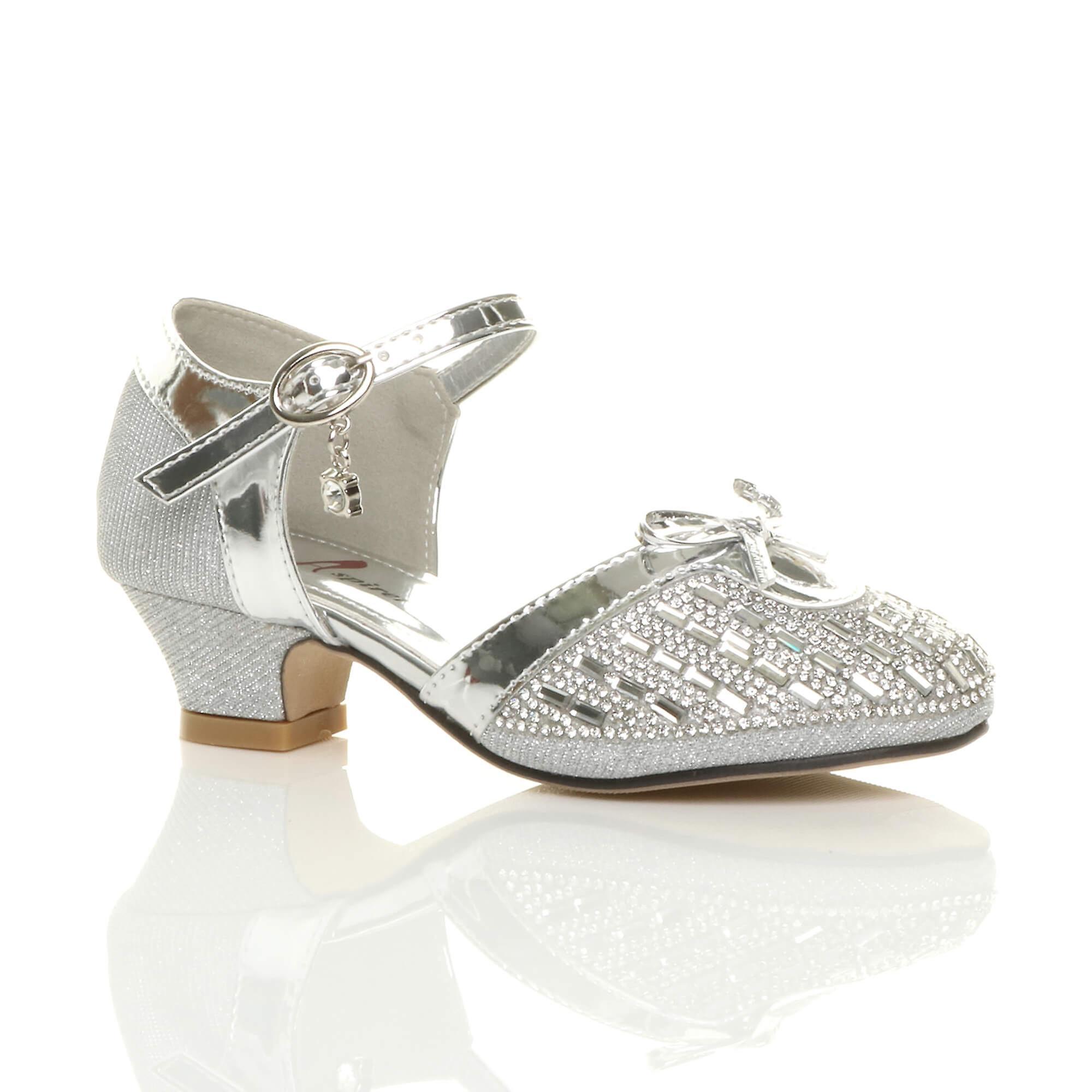Ajvani Mädchen niedrigem Absatz Diamante Bogen Schnalle Gericht Schuhe Sandalen