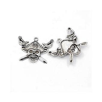 Packet 4 x Antique Silver Tibetan 43mm Pirate Skull Charm/Pendant ZX16495