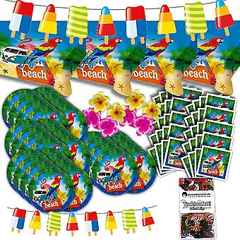 Beach party decoration set XL 87-teilig for 32 guests at Beach Party summer Hawaii beach party package
