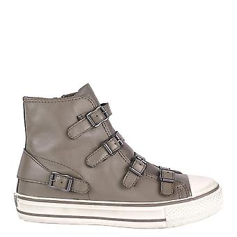 Ash VIRGIN Buckle Trainers Perkish Grey Leather