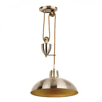 Antique Brass Effect Plate Rise & Fall Pendant 60W