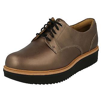 Ladies Clarks Brogue Style Shoes Teadale Rhea - Pewter Leather - UK Size 3.5D - EU Size 36 - US Size 6M