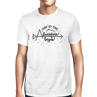 Avontuur begint T-Shirt Mens White Tee graduatiegift voor hem