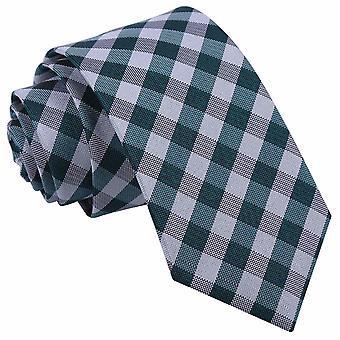 Turquoise Gingham Check Slim Tie