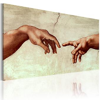 Handmade painting - The creation of Adam: fragment of painting