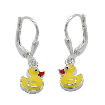 Silver Brisur earrings duck yellow girl earrings 925 sterling silver
