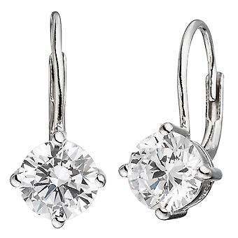 Boutons square 925 sterling silver rhodium plated 2 cubic zirconia earrings
