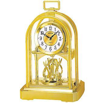 Tischuhr Quarzuhr mit Dreh-Pendel Rhythm Gehäuse goldfarben 27 x 16 cm