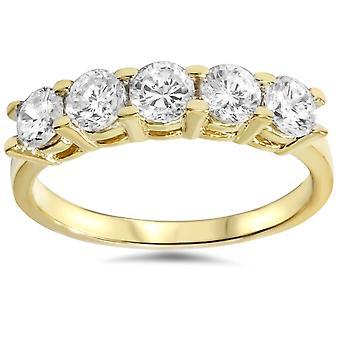 1 1 / 4ct timantti Wedding 14 k Yellow Gold Anniversary Ring 5-kivi korkean kiillotettu