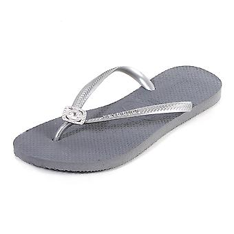 Havaianas Women's Slim Crystal Poem Rubber Flip Flop Steel Grey