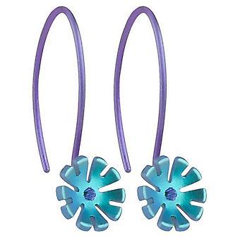 Ti2 Titanium 8mm Ten Petal Flower Drop Earrings - Kingfisher Blue