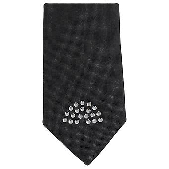 Knightsbridge Neckwear Diamante Pattern Skinny Tie - Black/Silver