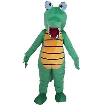 SPOTSOUND of green and yellow, very funny and colorful crocodile mascot